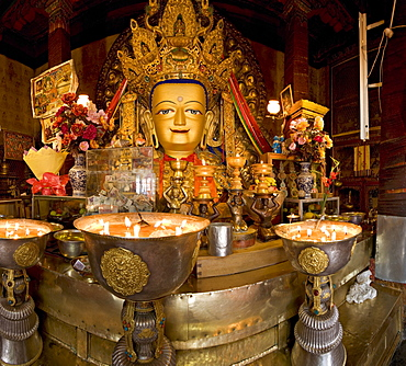 Panorama of Tibetan Buddhist chapel at Drepung monastery, Lhasa, Tibet, China, Asia