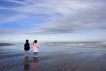 Boy aged four and girl aged three on a black volcanic sand beach in Manawatu, North Island, New Zealand, Pacific
