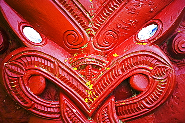 Close-up of wood carving at entrance to a Maori meeting hall, Te Poho-o-Rawiri Meeting House, Gisborne, North Island, New Zealand, Pacific