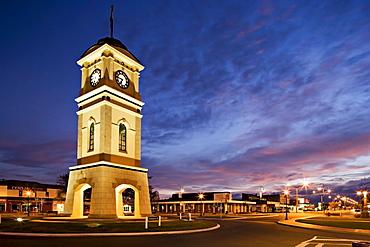 Clock tower in the square, Feilding, Manawatu, North Island, New Zealand, Pacific