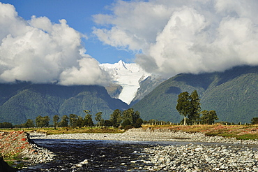 Clearwater Creek and Fox Glacier, Westland Tai Poutini National Park, UNESCO World Heritage Site, West Coast, South Island, New Zealand, Pacific