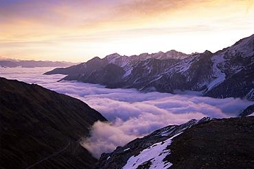Ortler Group and morning fog, Stilfserjoch National Park, Alps, Italy, Europe