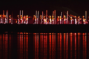 Fishermen, Liu Sanje performance in Yangshuo open air theatre, Yangshuo, Guangxi Province, China, Asia