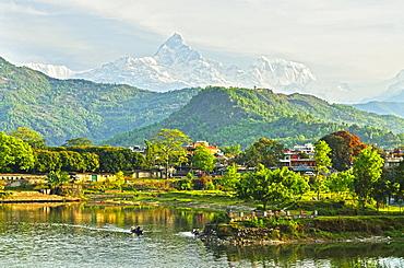 Annapurna Himal, Machapuchare and Phewa Tal seen from Pokhara, Gandaki Zone, Western Region, Nepal, Himalayas, Asia