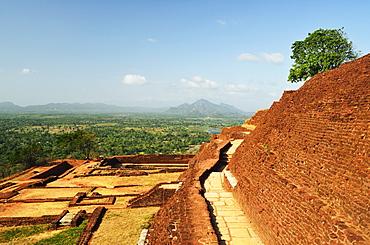 View from top of Sigiriya (Lion Rock), UNESCO World Heritage Site, Sri Lanka, Asia