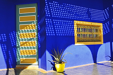 Blue paintwork in the Majorelle Gardens, Marrakesh, Morocco, North Africa, Africa