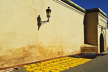 Leather drying in sun at Koutoubia Mosque, Marrakesh, Morocco,North Africa, Africa