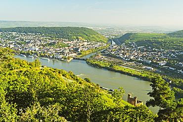 View of Bingen and River Rhine, Rhineland-Palatinate, Germany, Europe