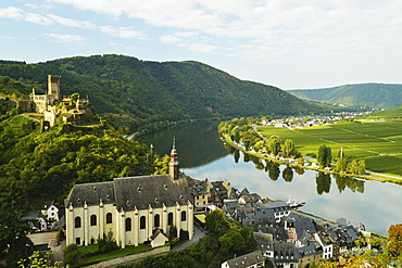 View of Beilstein, Castle Metternich and Moselle River (Mosel), Rhineland-Palatinate, Germany, Europe