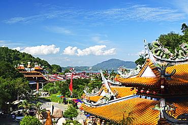 View of Pangkor Town and Fu Lin Kung Temple, Pulau Pangkor (Pangkor Island), Perak, Malaysia, Southeast Asia, Asia