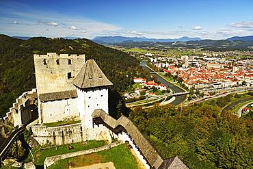 View of Celje Castle and Celje, Slovenia, Europe