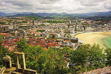 View of San Sebastian from Monte Urgull, Basque Country, Spain, Europe