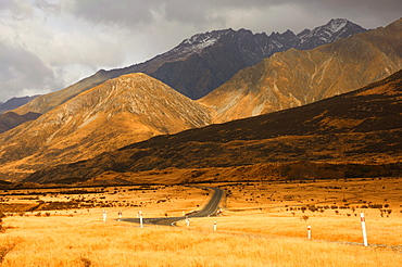 Mount Cook road and Ben Ohau Range, Canterbury, South Island, New Zealand, Pacific