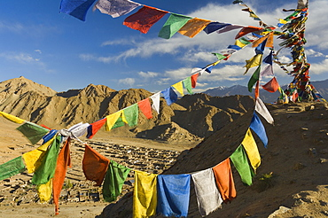 Prayer flags on the Peak of Victory, Leh, Ladakh, Indian Himalayas, India, Asia