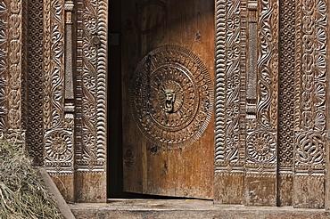 Wooden doorway, Manali, Himachal Pradesh state, India, Asia