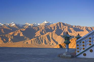 Shanti Stupa and Stok-Kangri massif, Leh, Ladakh, Indian Himalayas, India, Asia
