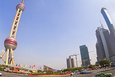 Oriental Pearl Tower and Lujiazui Finance and Trade zone, Shanghai, China, Asia