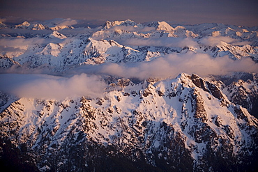 Aerial landscape, Olympic mountains, Olympic National Park,  UNESCO World Heritage Site, Washington State, United States of America, North America