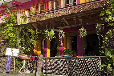 Hotel entry, Flores, Lago Peten Itza, Guatemala, Central America