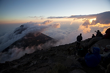 Tourists enjoying the view, Volcan Fuego, Guatemala, Central America