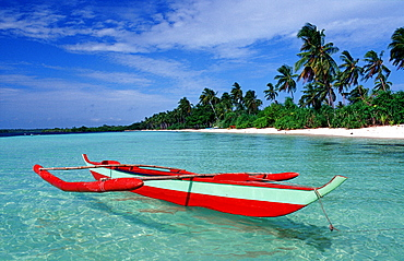 Banca, Outrigger boat on the beach, Philippines, Ananyana Resort, Panglao Island, Bohol