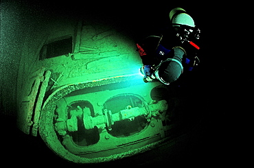 scuba diver and Jura, wreck diving, Germany, Bodensee, Baden Würtemberg