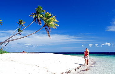 Woman on the sandy beach, Indonesia, Wakatobi Dive Resort, Sulawesi, Indian Ocean, Bandasea