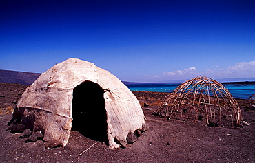 Desert camp of Afar nomads, Djibouti, Djibuti, Africa, Afar Triangle