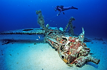 Messerschmidt 109 and scuba diver, Ile de Planier, Marseille, France, Mediterranean, Europe