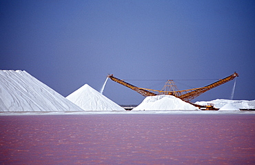 Salt production Akzo Nobel, Netherlands Antilles, Bonaire, Caribbean Sea