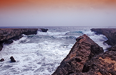 Storm on the coast, Netherlands Antilles, Bonaire, Caribbean Sea, Washington Slagbaai National Park, Playa Chikitu