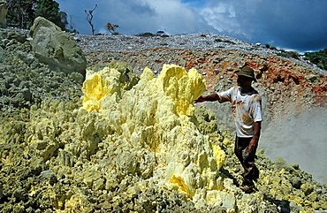 Sulfur in a volcano crater, Papua New Guinea, New Britain, Kimbe Bay