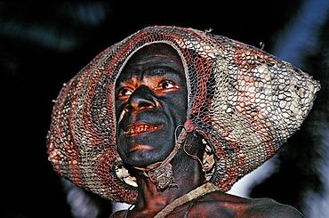 Portrait of native man, Papua New Guinea, New Britain, Kimbe Bay