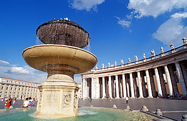 Fountain in St Peters Square , Italy, Rome, Vatican City