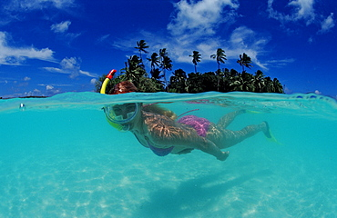 Snorkeling in front of Island, Maldives, Indian Ocean, Meemu Atoll