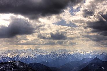 View from the Seekarkreuz to Karwendel Mountains, Germany, Mangfall Mountains, Bavaria