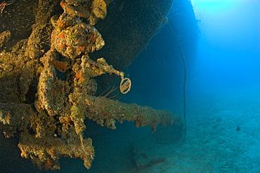 Sight and 12-inch Gun of USS Arkansas Battleship, Marshall Islands, Bikini Atoll, Micronesia, Pacific Ocean