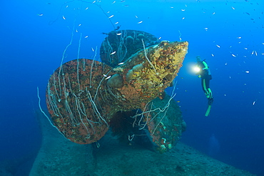 Diver at Propeller of HIJMS Nagato Battleship, Marshall Islands, Bikini Atoll, Micronesia, Pacific Ocean