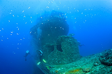 Diver at Bridge of USS Saratoga, Marshall Islands, Bikini Atoll, Micronesia, Pacific Ocean