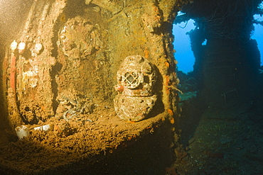 Diving Helmet on Brigde of USS Saratoga, Marshall Islands, Bikini Atoll, Micronesia, Pacific Ocean