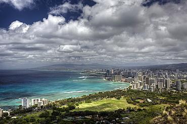 View of Waikiki, Oahu, Pacific Ocean, Hawaii, USA