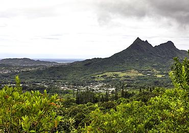 View of Nuuanu Pali Lookout, Oahu, Pacific Ocean, Hawaii, USA