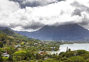 View of Kaneohe, Oahu, Pacific Ocean, Hawaii, USA
