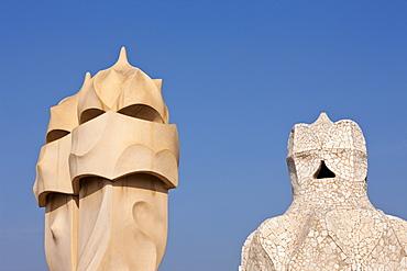 Sculptures of Architect Antoni Gaudi on Casa Mila Rooftop, Barcelona, Catalonia, Spain