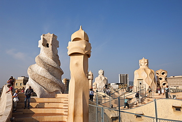 Casa Mila Rooftop of Architect Antoni Gaudi, Barcelona, Catalonia, Spain