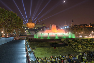 Lightshow with Illuminated Fountain Font Magica at Montjuic, Barcelona, Catalonia, Spain