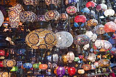 Colorful Lamps at Grand Bazaar Kapali Carsi, Istanbul, Turkey