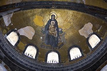 Apse Mosaic Virgin and Child at Hagia Sophia, Istanbul, Turkey