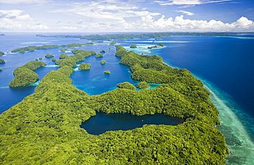 Aerial View of Jellyfish Lake of Palau, Micronesia, Palau