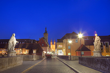 Old Main Bridge at Wuerzburg, Wuerzburg, Franconia, Bavaria, Germany